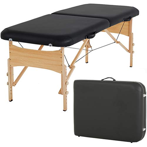 Massage Table Massage Bed Spa Bed 73″ Height Adjustable 2 Fold Massage Table W/Carry Case Portable Salon Bed