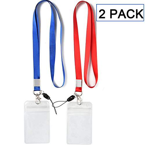 Blue Lanyard Keychain - 2 Pack ID Badge Holders with Red Lanyards/Strap Colorful Neck Strings Blue Lanyard with Vertical PVC Name Tag ID Cards Holder Punched Zipper Waterproof Resealable Clear Plastic