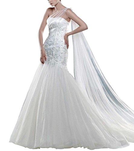 George Bride una hombro perlas Net ueber satén Capilla Tren Vestidos de novia Vestidos de Boda Weiß