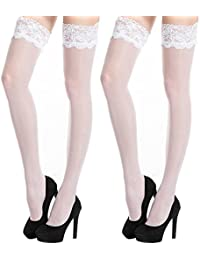 2 Pairs Women's Sheer Thigh High Stockings Sexy Lace...