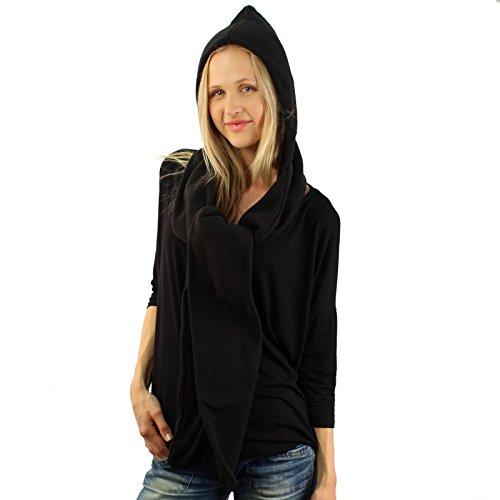 Winter Fleece Hooded Scarf Pullover Headscarf Neckwarmer Hoodie Ski Hat Black by SK Hat shop