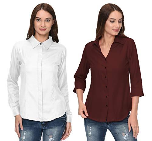 ThisbeWomen's White & Brown Color Full & 3/4th Sleeves Formal Shirt