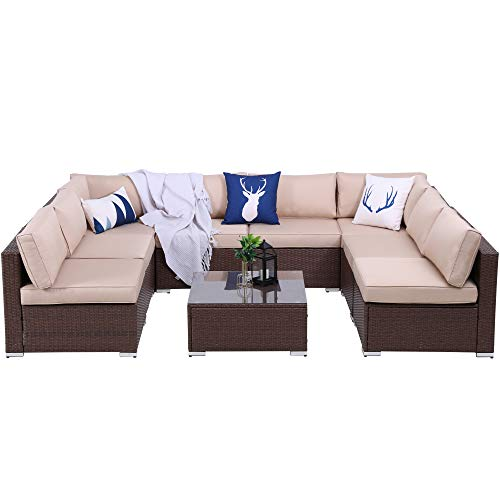 9 Piece Outdoor All Weather Brown PE Wicker Furniture Set, Patio Sectional Conversation Sofa Set with Glass Table, Removable Beige Cushions