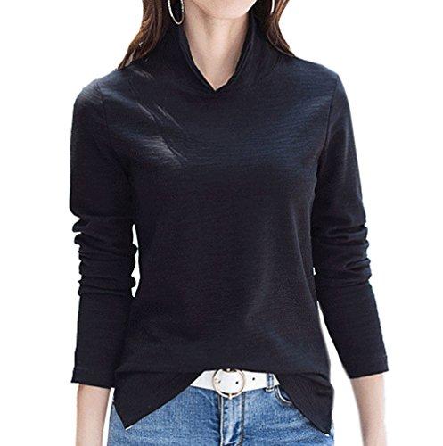 Risvolto Tinta Nero Camicie T Felpe Donna A Moda Autunno Maglione shirts Maglie Jackenlove Tops Unita Pullover Polo Manica Maglietta Primavera E Casual Lunga wOBWqY4x
