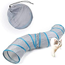 """PAWZ Road Cat Toys S Way Cat Collapsible Tunnel for Fat Cat Upgraded Version 12"""" Diameter Gray"""