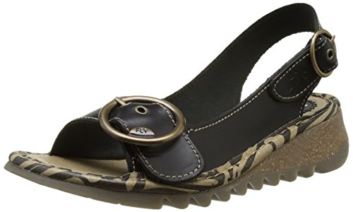 Fly London Mujeres Tram723fly Wedge Sandal Black Brindle