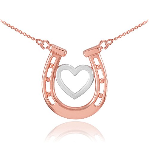 Dainty 14k Two-Tone Rose and White Gold Lucky Charm Horseshoe with Heart Necklace, 16