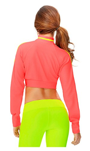 Babalu Fashion Women Long Sleeve Turtleneck Crop Top Jacket Pullover Ladies Activewear Chaquetas Deportivas de Mujer Ropa para Dama 35153 Neon Coral