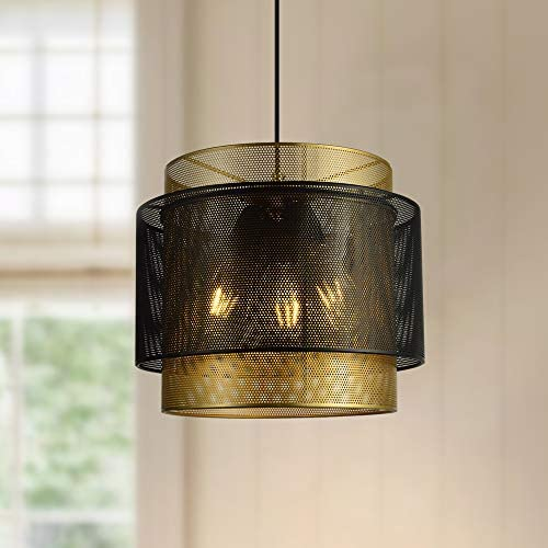 Maxax Round Farmhouse Chandelier 3 Light Indoor Ceiling Light Black Gold Metal