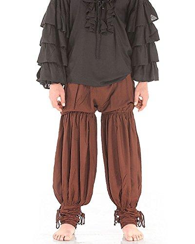Medieval Renaissance Pirate Swordsman Pants Costume C1054 [Chocolate] (Small/Medium)