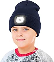 LED Beanie Hat with Light for Kids, USB Rechargeable Hands Free LED Headlamp Cap Winter Night Lighted Hat