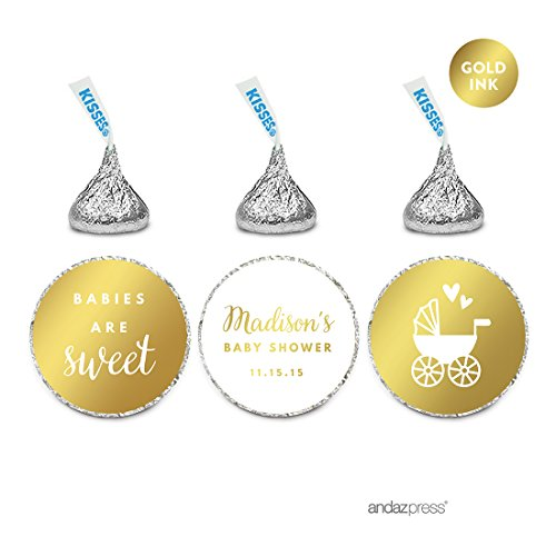 Andaz Press Personalized Chocolate Drop Labels Trio, Metallic Gold Ink, Baby Shower, 216-Pack, Fits Hershey's Kisses, Custom Made Any Name, Not Gold Foil, Gold Stationery, Invitations, Decorations (And Stationery Invitations)
