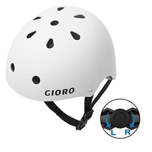(GIORO Skateboard Helmet Impact Resistance Safe Helmet with Ventilation Multi Sport for BMX Bike Skate& Scooter,Dual Certified CPSC Adult &Kids Adjustable Dial Helmet-Multiple Colors&Sizes (White, M))