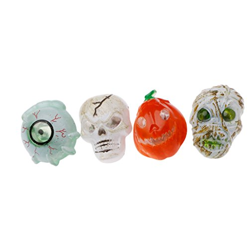 Jesse 4Pcs Halloween Ring Set (Eyeball Pumpkin Skull,Random), Flash LED Light Horror Evil Scary Fancy Party Costume Dress up Decoration for Adult Men Women Kids Boys -