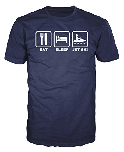 Eat Be in the arms of Morpheus Jet Ski Funny T-shirt (XL, Navy Blue)