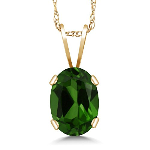 (Gem Stone King 0.80 Ct Oval Green Chrome Diopside 14K Yellow Gold Pendant With)
