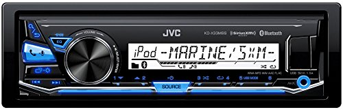 JVC KD-X33MBS Single DIN Marine Grade Bluetooth In-Dash Mechless Car Stereo -