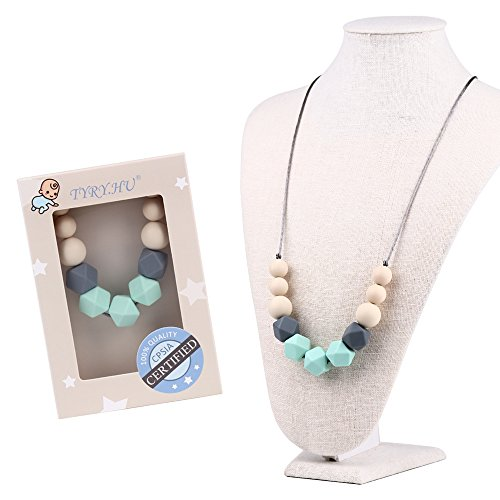 TYRY.HU Silicone Teething Necklace for Mom to Wear BPA Free Chew Beads Jewelry Teether Toy for Baby Teething Relief, Nursing, Breastfeeding (Mint (Mommy Jewelry)