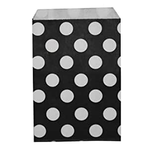Dress My Cupcake DMC79301 96-Pack Favor Bags, Black with Large White Polka Dot