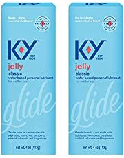 K-Y Jelly Lube, Personal Lubricant, Water-Based Formula, Safe to Use with Latex Condoms, For Men, Women and Couples, 4 FL OZ (Pack of 2)