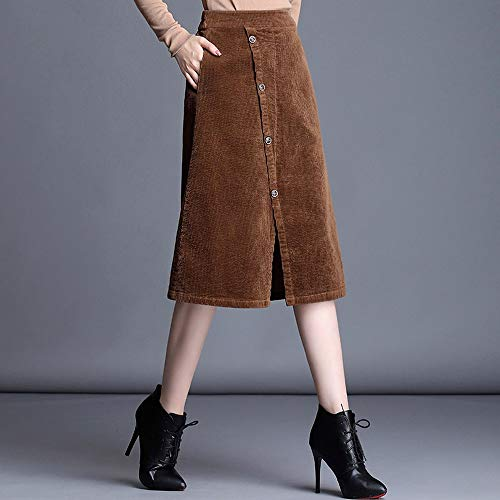 Swovq Lápiz Un 4xl Mujer Cintura 3xl Una Khaki Pecho Grandes Solo Falda Elástica Tallas Línea De qqCngxFw