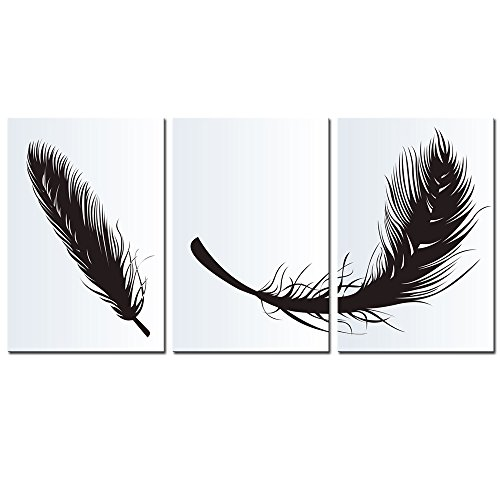 Sea Charm-Feather Canvas Wall Art,3 Panels Modern Giclee Canvas Prints Home Decoration,Simple Design,Stretched and Framed Ready to ()