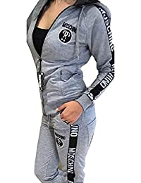 WSPLYSPJY Women's 2 Pieces Outfits Letter Print Jacket and Pants Tracksuits Set Grey US Large