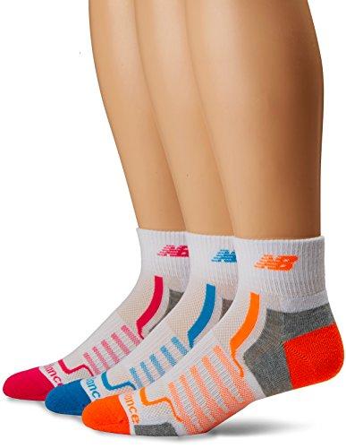 New Balance Performance Ankle Socks (3 Pair), White/Grey/Blue/Pink/Orange, Medium