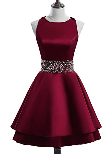 Gown Beading Homecoming Beaded Ball Belt Party Prom Womens Short Burgundy Dress Round Neck BRL15 URZPPE