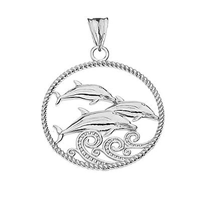 Elegant 10k Gold Roped Dolphin Trio Charm Pendant Necklace