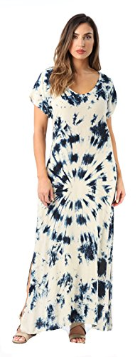 (Riviera Sun Casual Short Sleeve Maxi Dress with Side Slit 21770-NVY-1X Navy/Cream )