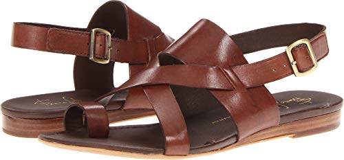 Franco Sarto Women's Gia Chocolate Leather Sandal 9.5 M (Leather Brown Sandals)