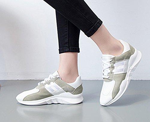 Aisun Kvinna Tillfälliga Sport Rund Tå Andas Spets Upp Platta Sneakers Löparskor Vita