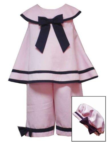 Rare Pink Capris Editions (Rare Editions Baby Girls' Navy Nautical Capri Set, Pink/Navy, 18 Months)