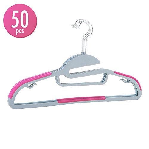 Cyclone Slip (50pcs Hangers Sturdy Thin Lightweight Clothes Organizer Hanger with 360-degree Swivel Steel Hooks Non-Slip S Shape Shoulders Anti-Wrinkle and Space Saving Design for All Kinds of Garments - Pink)