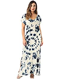 Casual Short Sleeve Maxi Dress with Side Slit