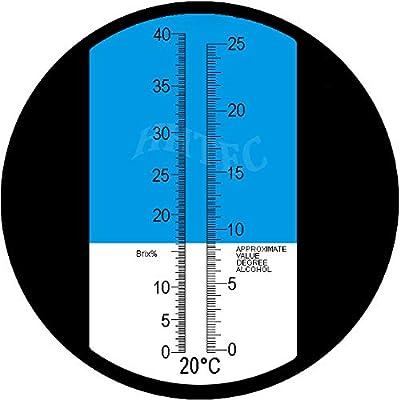HHTEC Winzer Refraktometer Alkohol:0-25/% Zucker:0-40/% mit ATC f/ür Winzer Wein Bier Brauen Traubensaft Most Refraktometer Brix zur Messung des Zuckeranteils um besseren Wein zu herstellen