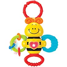 KiddoLab Twist, Rattle & Shake Musical Bee Light-Up Toy Teething Ring Toddlers 3 Months+ Sensory Chew Fine Motor Skills Toy Newborn Musical Playtime Baby Teether Rattle Toy