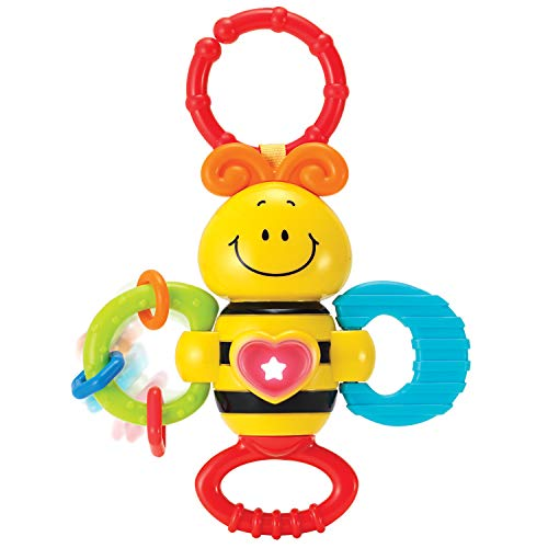 KiddoLab Twist, Rattle & Shake Musical Bee Light-Up Toy and Teething Ring for Toddlers 3 Months+ Sensory Chew and Fine Motor Skills Toy for Newborn Musical Playtime Baby Rattle and Teething Toys