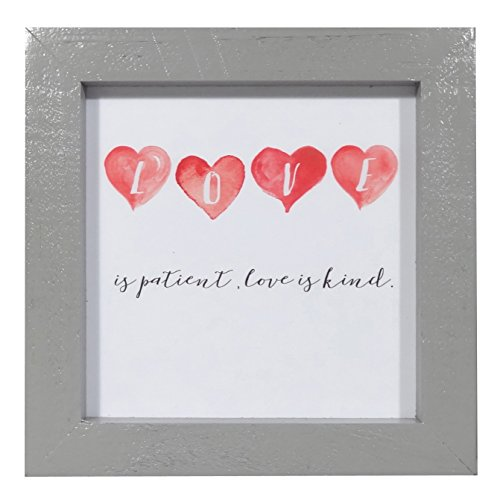 NIKKY HOME Wood Framed Wall Art Prints Heart-shaped Pattern with Inspirational Quotes Love is Patient Love is Kind (Heart Message Plaque)