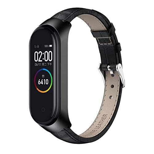 Kuerqi Replacement Anti-Off Sport Crocodile Leather Wristband Wrist Strap Watchband Watch Loop Watch Band Strap for Xiaomi Mi Band 4 with Metal Case Frame