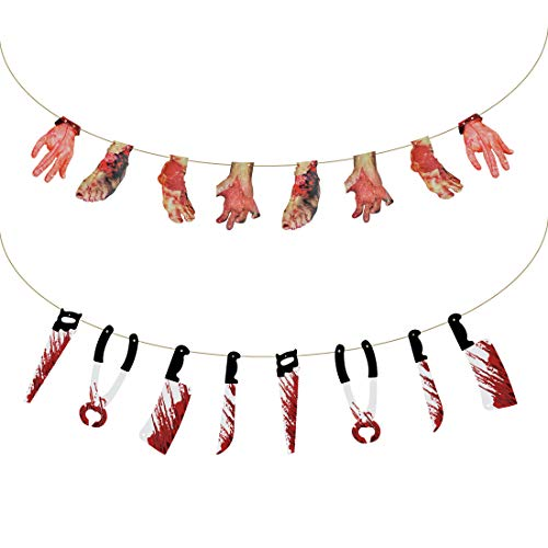 16Pcs Halloween Theme Party Decoration Supplies,2 String/Set Bloody Weapons Garland Props - 8pcs Rotten Blood Hand and Foot + 8Pcs Blood Knife,Horror Halloween Zombie Vampire Decorations Supplies ()