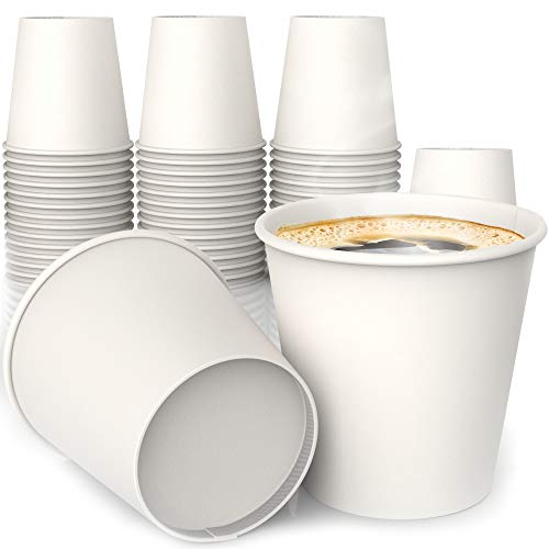 4 oz All-Purpose White Paper Cups (50 ct) - hot and Cold Beverage Cup for Water Tea Coffee - Ideal Bath Cup