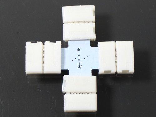 LED24.cc Connecteur croix rapide pour rubans LED RGB 5050 4 pôles Fixation sans soudure 10mm