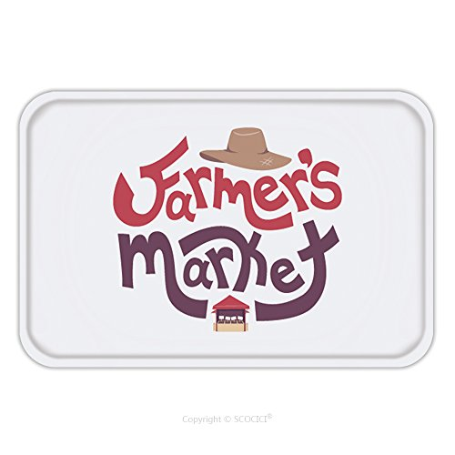 Plays On Words Costumes (Flannel Microfiber Non-slip Rubber Backing Soft Absorbent Doormat Mat Rug Carpet Typography Illustration Featuring The Words Farmers Market Decorated With A Straw Hat On Top And A 566661166 for Indoor)