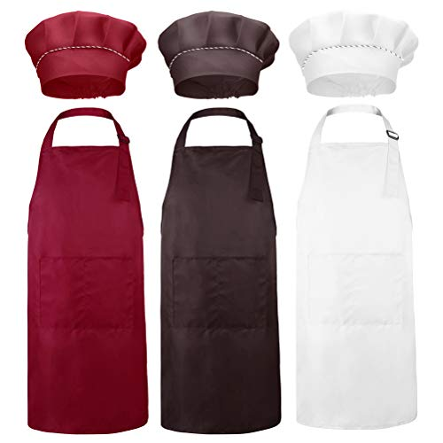 Vankcp 6Pcs Kids Chef Apron and Hat Set, Child Chef Costume 3 Color Kids Little Chef Hat Apron Set for Kitchen Cooking Baking Training -
