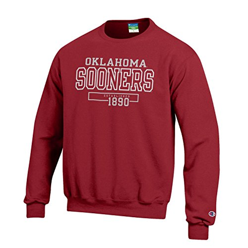 Champion NCAA Men's Long Sleeve Eco Powerblend Sweatshirt Unisex Officially Licensed Crewneck Fleece Oklahoma Sooners XX-Large