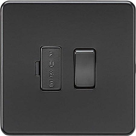 Matt Black 13A Socket//Dual USB Knightsbridge SFR8333UMBB Screwless Cooker Switch 230 V