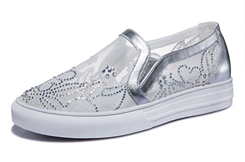 And Breathable Gauze Womens Stylish Centenary Silver Leather Flat Cowhide Loafer RqYt4AS