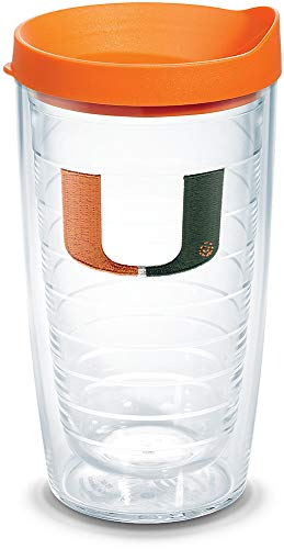 Tervis 1056610 Miami Hurricanes Logo Tumbler with Emblem and Orange Lid 16oz, Clear ()